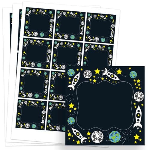 Space Design 65mm Square Sticker sheet of 12 Product Image