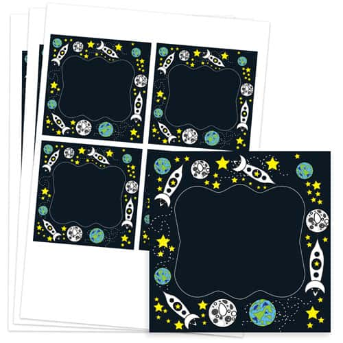 Space Design 95mm Square Sticker sheet of 4 Product Image