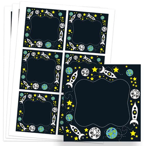 Space Design 80mm Square Sticker sheet of 6 Product Image