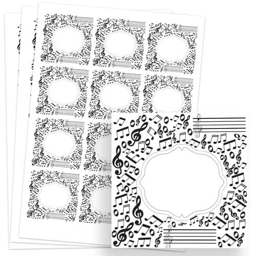 Music Design 65mm Square Sticker sheet of 12 Product Image