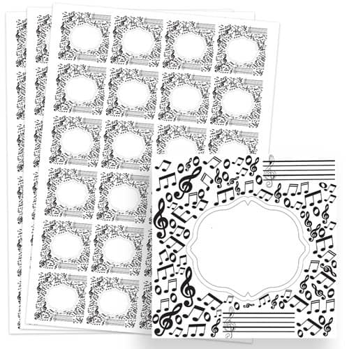 Music Design 40mm Square Sticker sheet of 24 Product Image