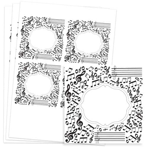 Music Design 95mm Square Sticker sheet of 4 Product Image