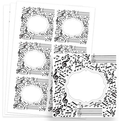 Music Design 80mm Square Sticker sheet of 6 Product Image