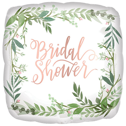 Bridal Shower Leaves Satin Luxe Square Foil Helium Balloon 43cm / 17 in