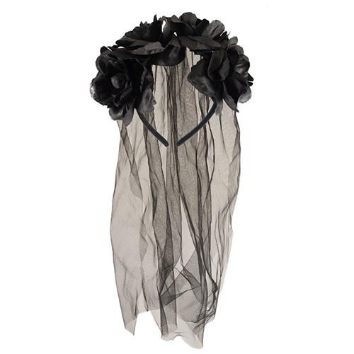 Bride Headband with Black Flowers and Veil Halloween Fancy Dress
