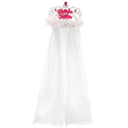 Bride To Be Tiara With Fur And Veil