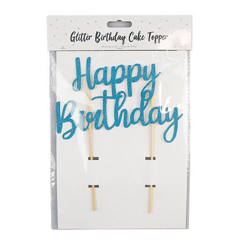 Bright Blue Glitter Happy Birthday Cake Topper 19cm Product Image