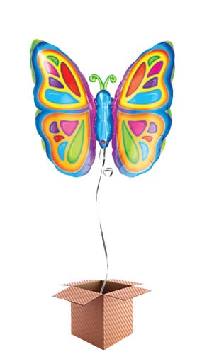 Bright Butterfly Helium Foil Giant Balloon - Inflated Balloon in a Box Product Image