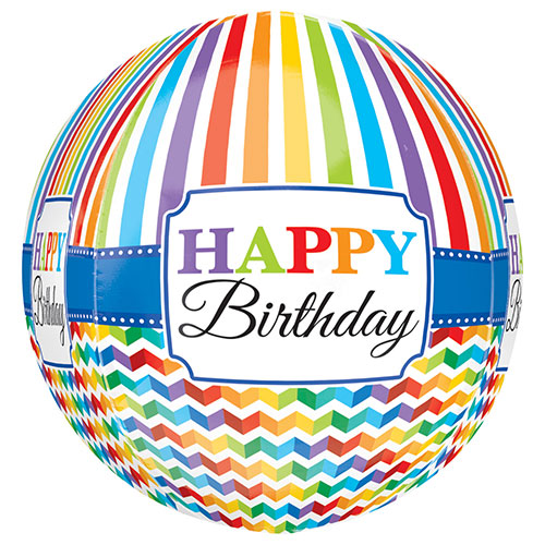 Bright Happy Birthday Orbz Foil Helium Balloon 38cm / 15 in Product Image