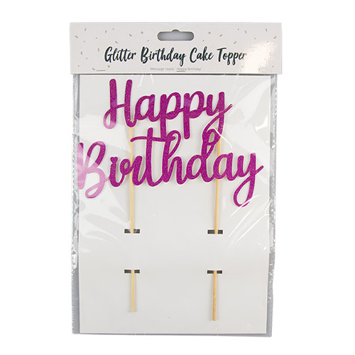 Bright Pink Happy Birthday Cake Topper 19cm Product Image