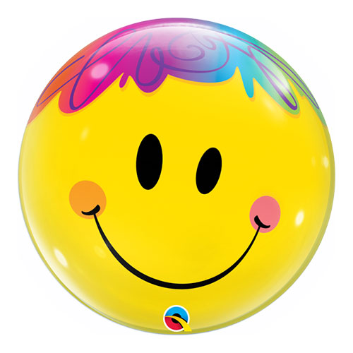 Bright Smile Face Bubble Helium Qualatex Balloon 56cm / 22 in Product Image