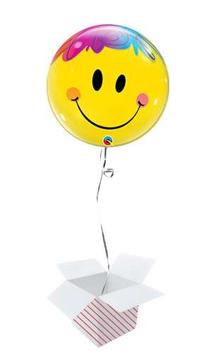 Bright Smile Face Bubble Helium Qualatex Balloon - Inflated Balloon in a Box Product Image