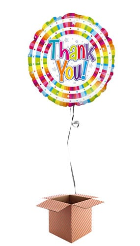 Bright Thank You Holographic Round Foil Balloon - Inflated Balloon in a Box