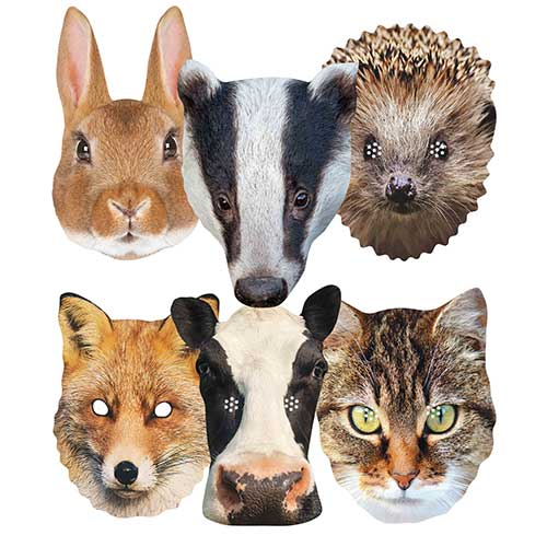 British Countryside Animals Cardboard Face Masks - Pack of 6 Product Image