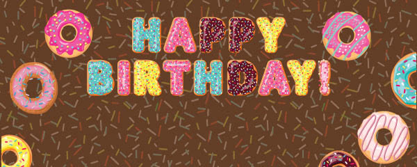 Brown Happy Birthday Donuts Design Medium Personalised Banner - 6ft x 2.25ft