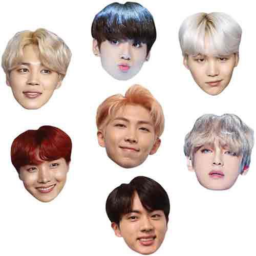 BTS K-Pop Cardboard Face Masks - Pack of 7 Product Image