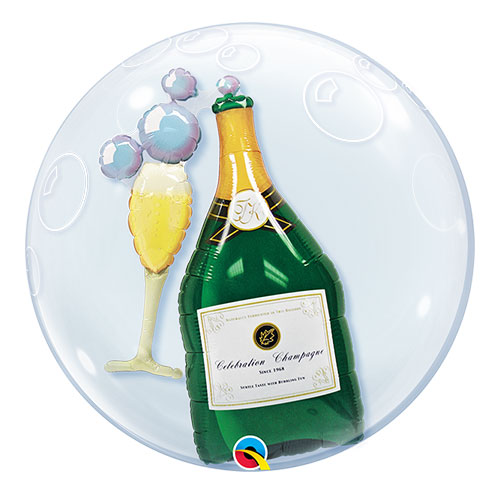 Bubbly Wine Double Bubble Helium Qualatex Balloon 61cm / 24 in Product Image