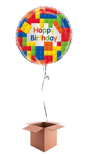 Building Blocks Happy Birthday Round Foil Balloon - Inflated Balloon in a Box Product Image