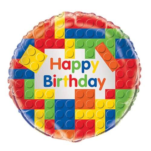 Building Blocks Happy Birthday Round Foil Helium Balloon 46cm / 18Inch Product Image