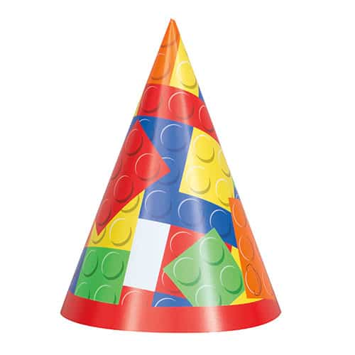 Building Blocks Party Hat Pack of 8 Product Image