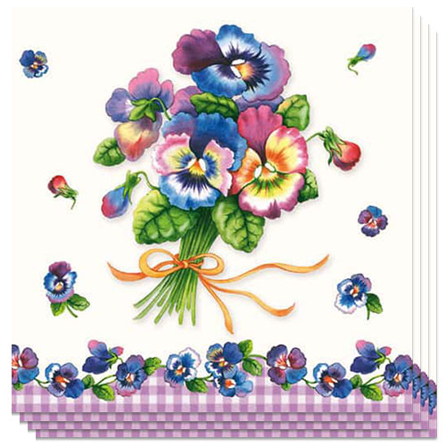 Bunch Of Pansy Luncheon Napkins 3Ply - 33cm - Pack of 20 Product Image
