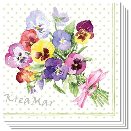 Bunch of Violets Green Premium Luncheon Napkins 3Ply 33cm - Pack of 20 Product Image