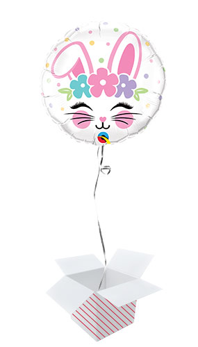 Bunny Face Easter Foil Helium Qualatex Balloon - Inflated Balloon in a Box Product Image