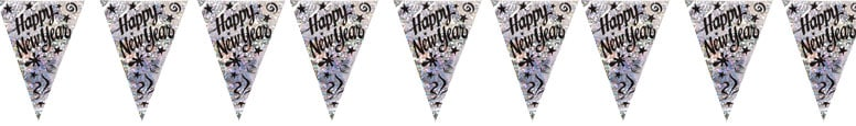 Happy New Year Holographic Bunting 3.6m