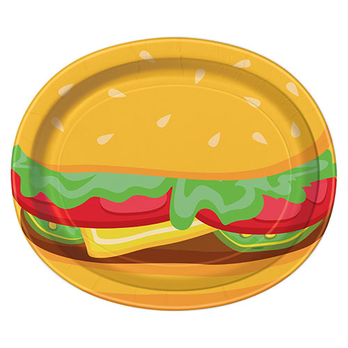 Burger BBQ Oval Paper Plates 30cm - Pack of 8