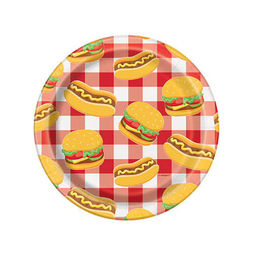 Burger BBQ Round Paper Plates 17cm - Pack of 8