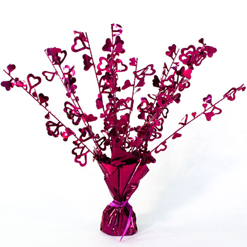 Burgundy Hearts Foil Spray Balloon Weight Centrepiece Product Image