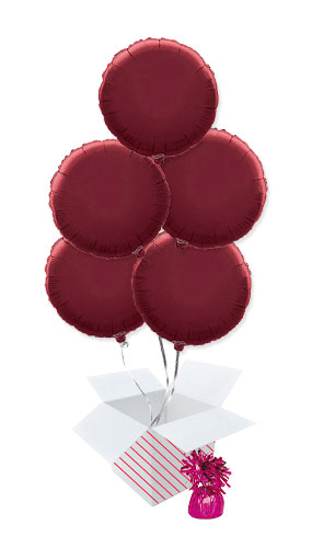 Burgundy Round Foil Helium Balloon Bouquet - 5 Inflated Balloons In A Box