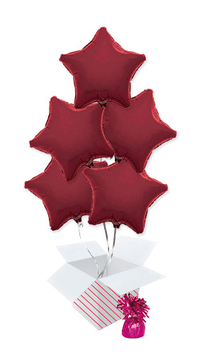 Burgundy Star Foil Helium Balloon Bouquet - 5 Inflated Balloons In A Box Product Image