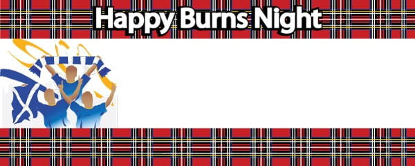 Burns Night Red Tartan Celebration Design Small Personalised Banner - 4ft x 2ft