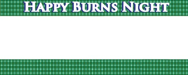 Burns Night Green Tartan Design Small Personalised Banner - 4ft x 2ft