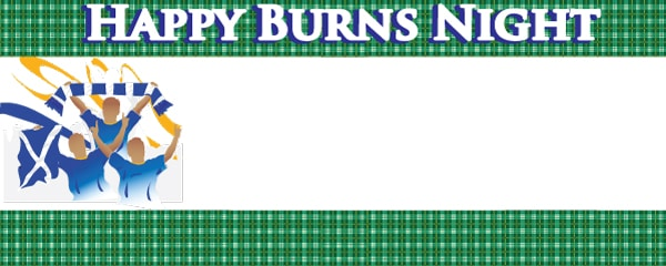 Burns Night Green Tartan Celebration Design Small Personalised Banner - 4ft x 2ft