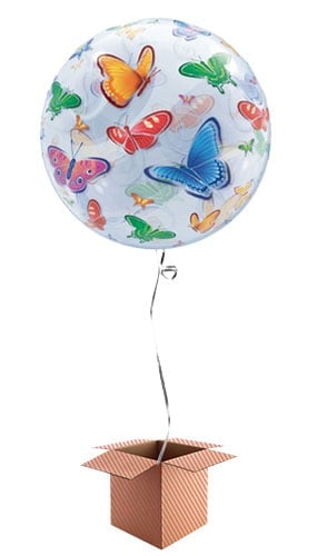 Butterflies Bubble Helium Qualatex Balloon - Inflated Balloon in a Box