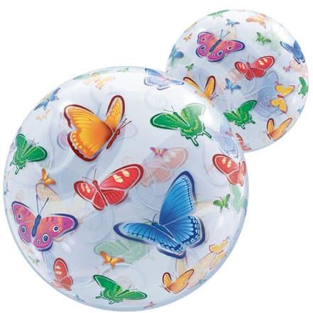Butterflies Bubble Helium Qualatex Balloon 56cm / 22 in