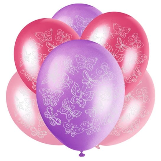 Butterflies Latex Balloons - 30cm - Pack of 6 Product Image