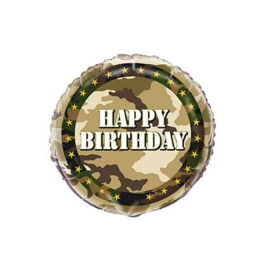 Camouflage Happy Birthday Foil Helium Balloon 46cm / 18Inch Product Image
