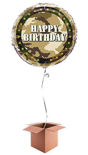 Camouflage Happy Birthday Foil Balloon - Inflated Balloon in a Box Product Image