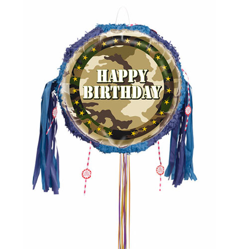 Camouflage Happy Birthday Pull String Pinata Product Image