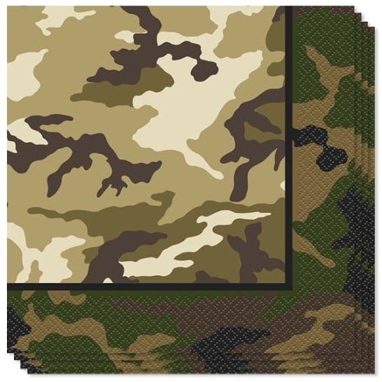Camouflage Luncheon Napkins - 2 Ply - 33cm - Pack of 16