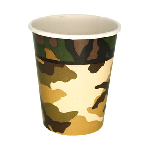 Camouflage Paper Cups 270ml - Pack of 8