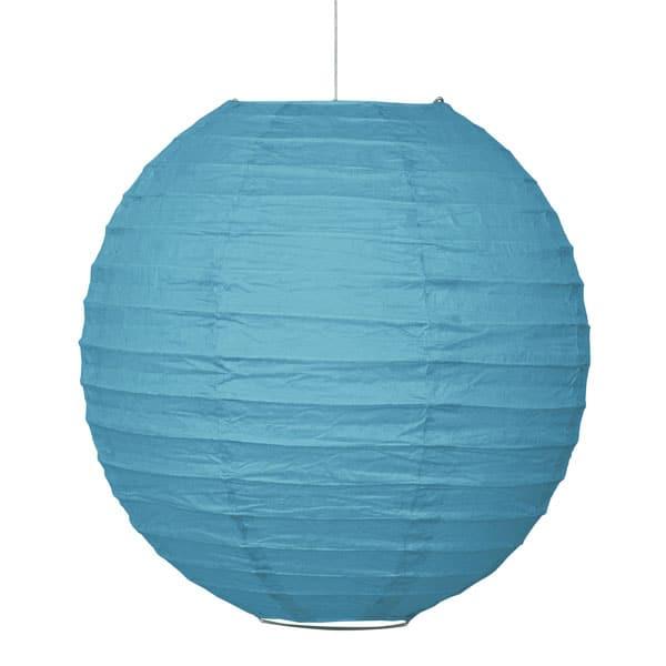 Caribbean Teal Hanging Round Paper Lantern 25cm Product Image