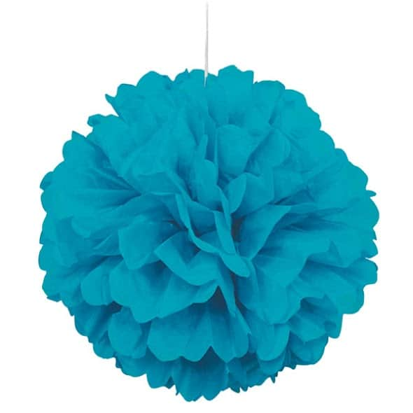 Caribbean Teal Honeycomb Hanging Decoration Puff Ball 40cm Product Image