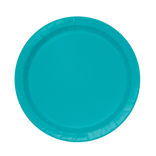 Caribbean Teal Round Paper Plates 17cm - Pack of 20