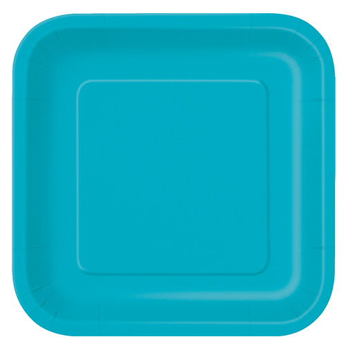 Caribbean Teal Square Paper Plates 22cm - Pack of 14 Product Image