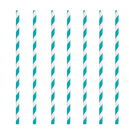 Caribbean Teal Striped Eco-Friendly Paper Straws - Pack of 10 Product Image