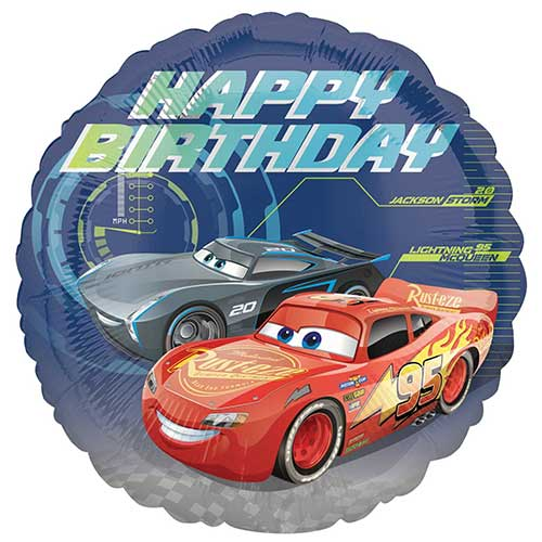 Cars 3 Happy Birthday Round Foil Helium Balloon 43cm / 17 in Product Image